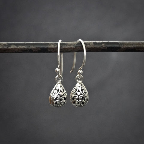 Filigree Sterling Silver Teardrop Earrings