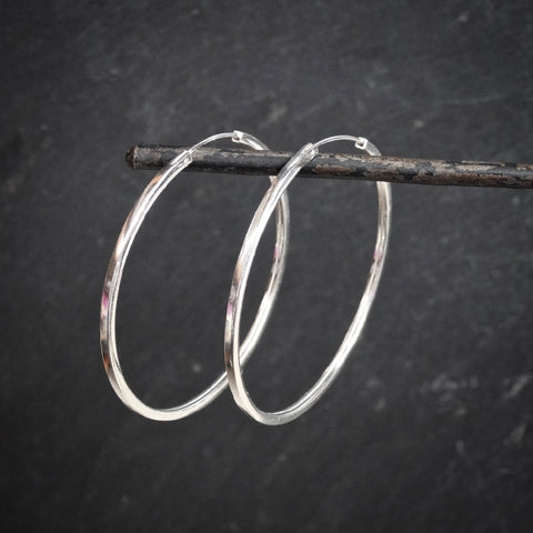 Extra Large Square Sterling Silver Hoop Earrings