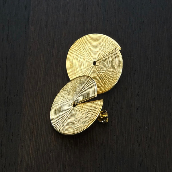 Gold Vermeil Round Disc Stud Earrings - Beyond Biasa
