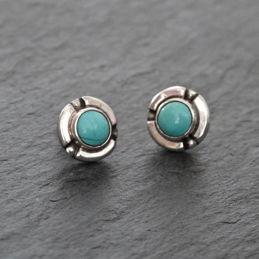 Turquoise and Sterling Silver Detail Stud Earrings - Beyond Biasa
