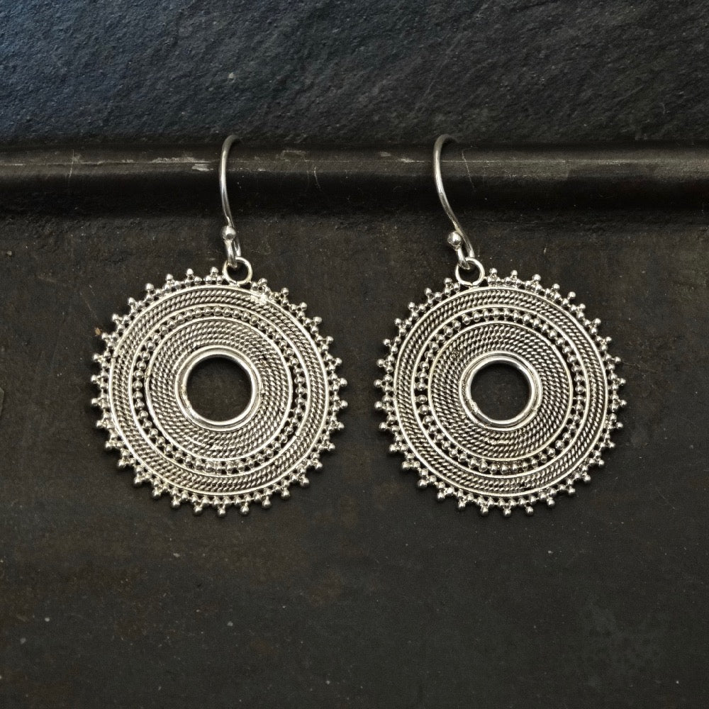 Sterling Silver Wirework and Granulation Detail Drop Earrings - Beyond Biasa