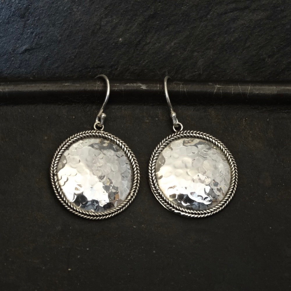 Sterling Silver Hammered and Wirework Round Drop Earrings - Beyond Biasa