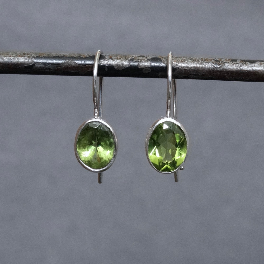 Faceted Peridot and Sterling Silver Drop Earrings - Beyond Biasa