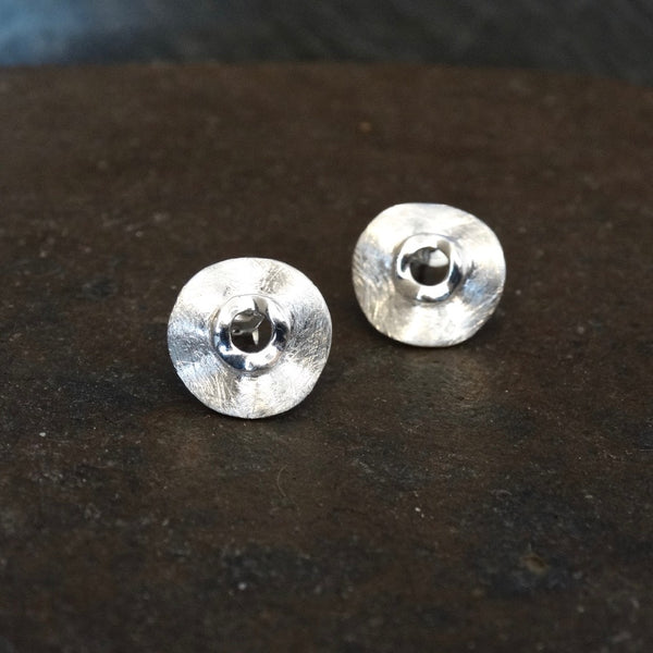 Brushed Sterling Silver Irregular Circle Stud Earrings - Beyond Biasa