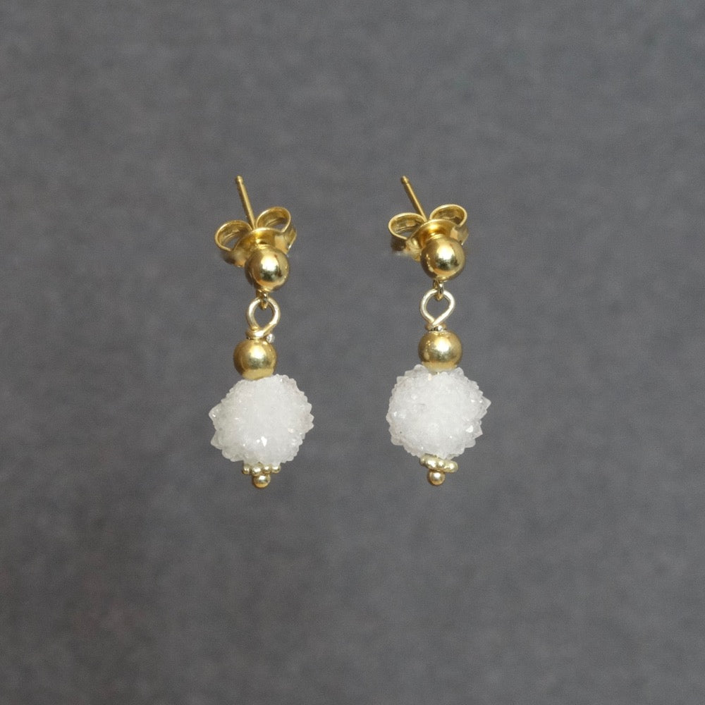 Snowball Quartz and Gold Vermeil Earrings - Beyond Biasa