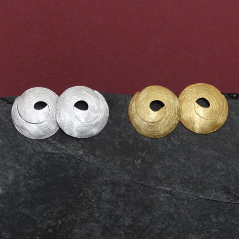 Swirl Stud Earrings in Brushed Sterling Silver or Brushed Gold Vermeil