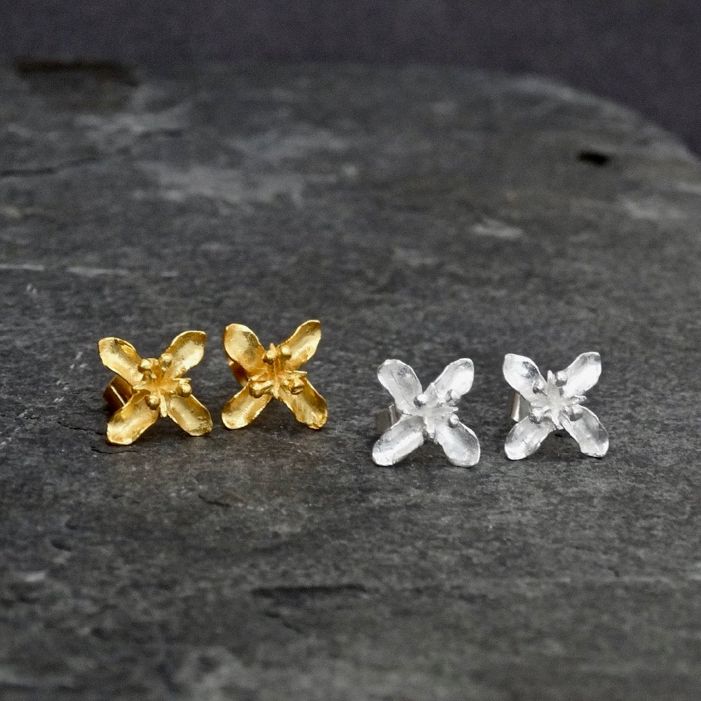 Flower Stud Earrings in Sterling Silver or Gold Vermeil - Beyond Biasa