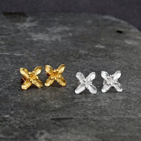 Flower Stud Earrings in Sterling Silver or Gold Vermeil
