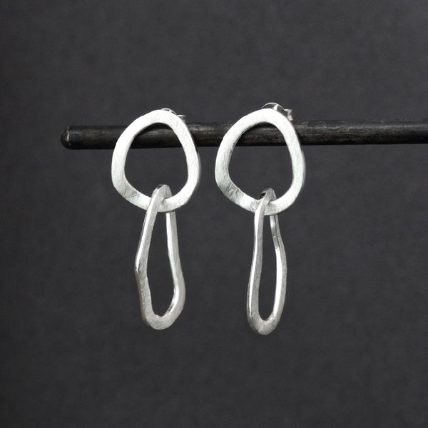 Brushed Sterling Silver Organic Shapes Earrings - Beyond Biasa