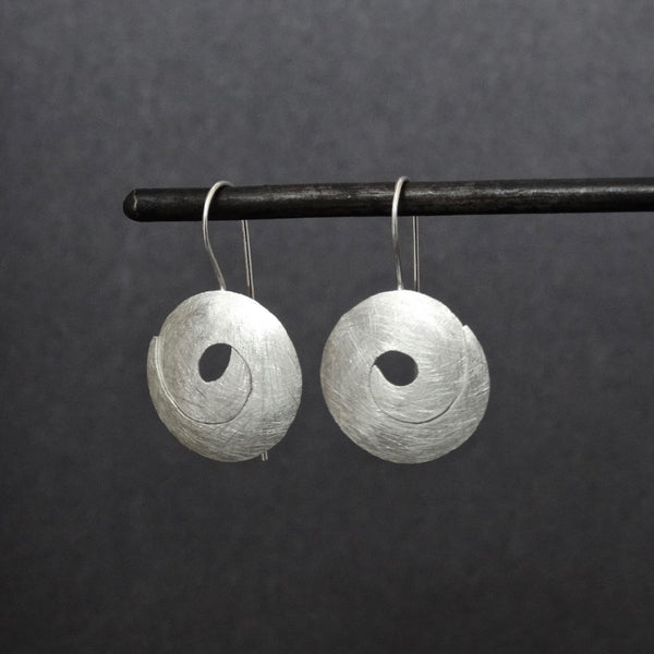 Brushed Sterling Silver Swirl Drop Earrings - Beyond Biasa