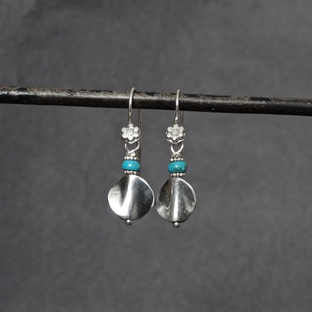 Oxidised Silver Silver Twist Earrings with Turquoise - Beyond Biasa