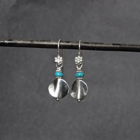 Oxidised Silver Silver Twist Earrings with Turquoise