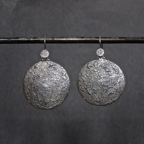 Sterling Silver Irregular Granulation Round Drop Earrings