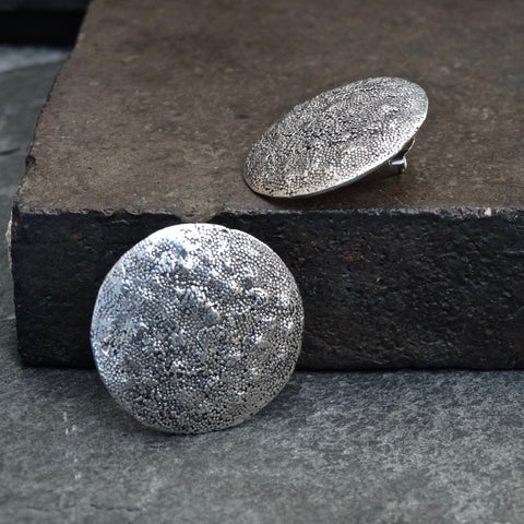Sterling Silver Irregular Granulation Disc Stud Earrings