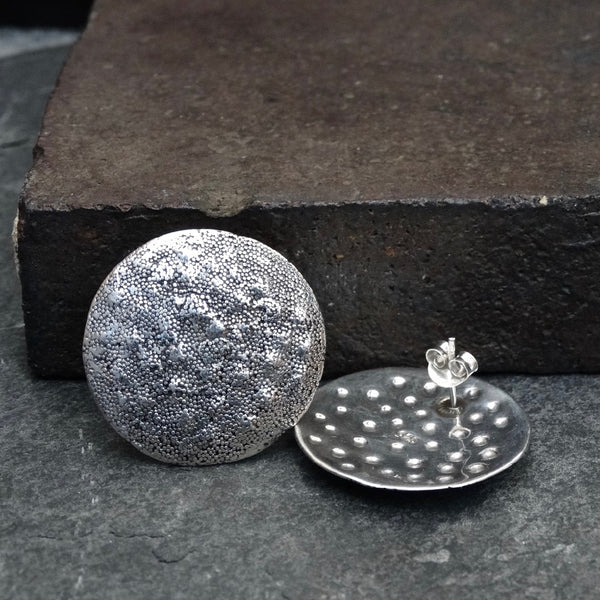 Sterling Silver Irregular Granulation Disc Stud Earrings - Beyond Biasa