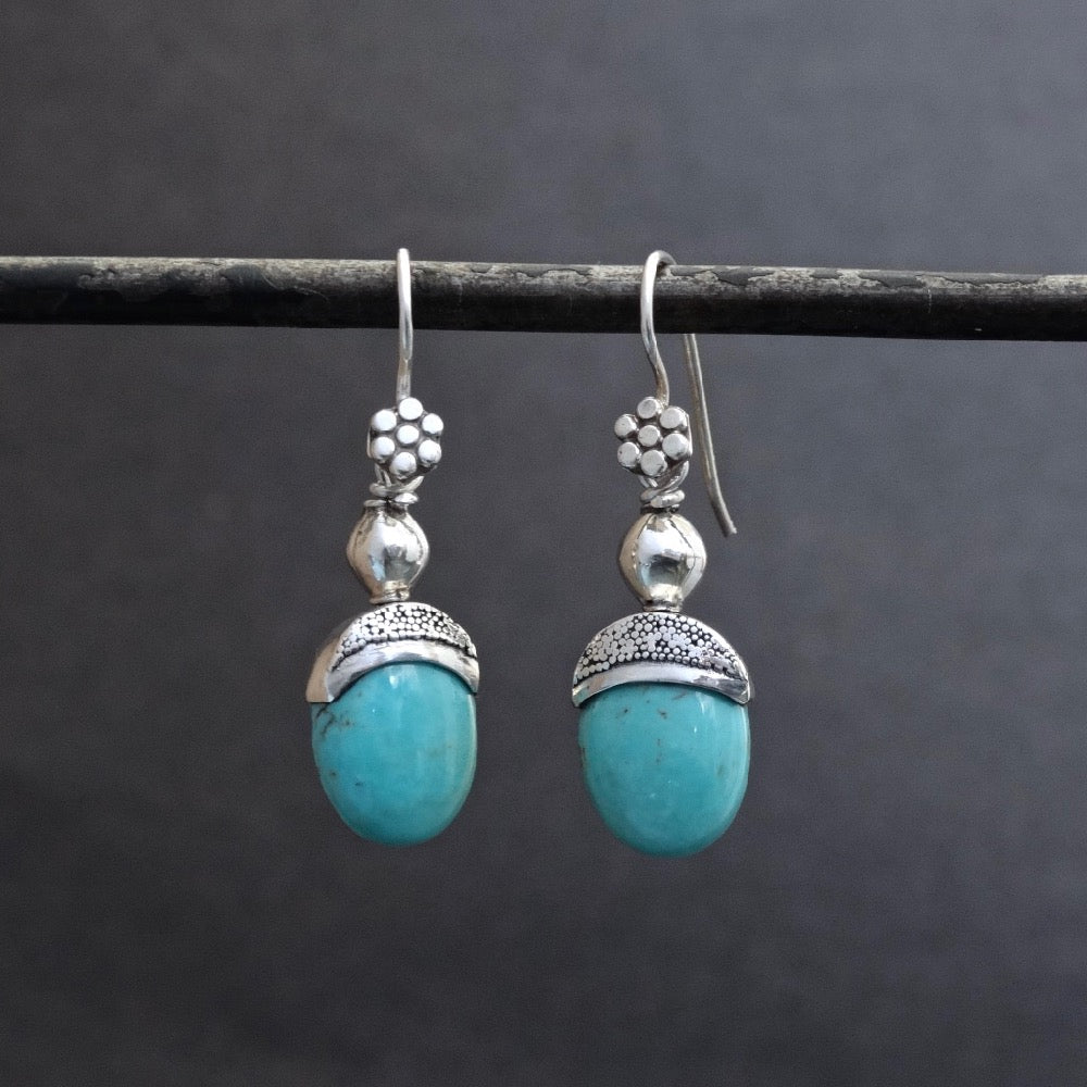 Turquoise and Sterling Silver Granulation Drop Earrings - Beyond Biasa