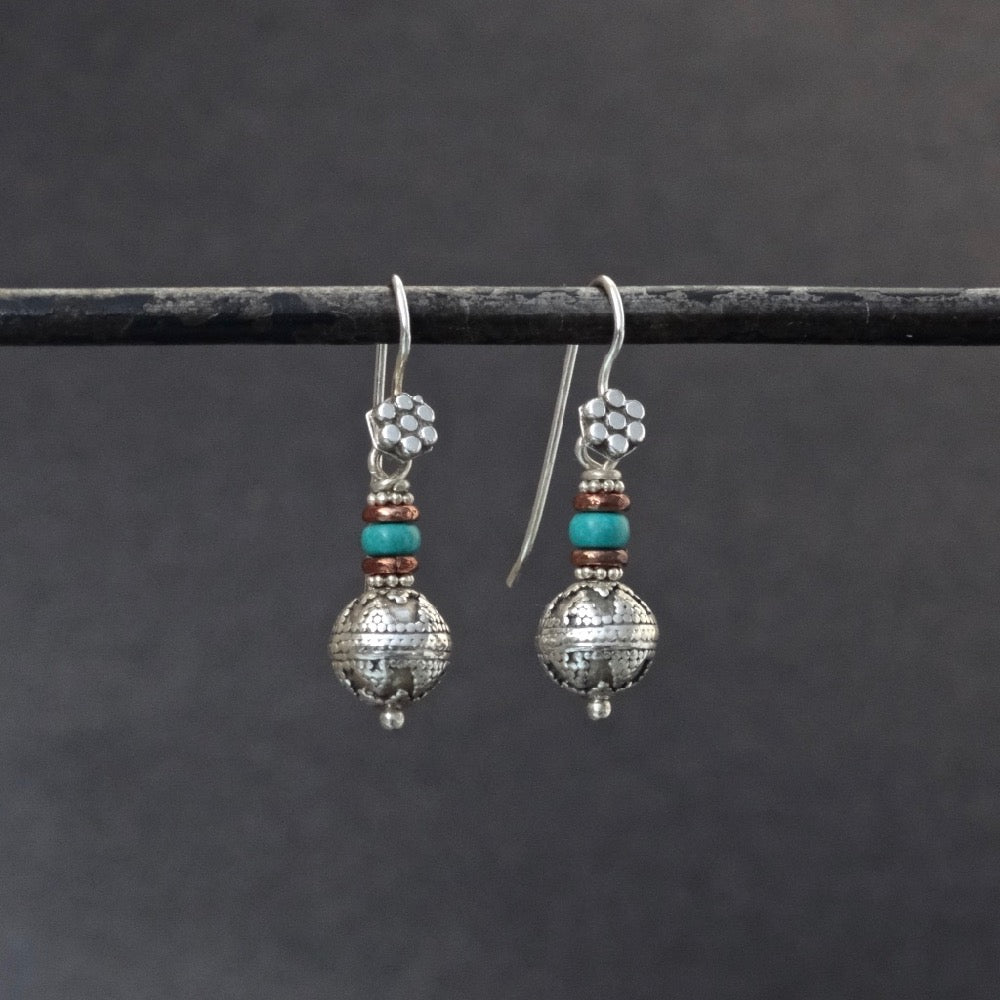 Sterling Silver Balinese Granulation Bead Earrings with Turquoise and Copper - Beyond Biasa