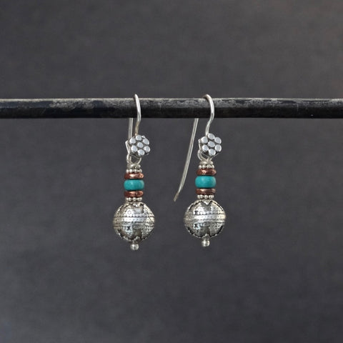 Sterling Silver Balinese Granulation Bead Earrings with Turquoise and Copper