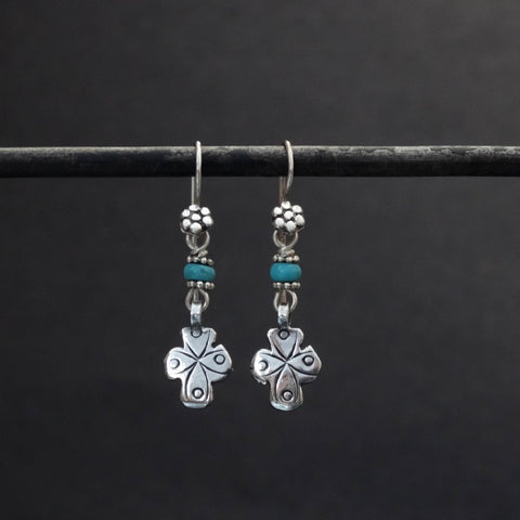 Sterling Silver and Turquoise Tuareg Earrings