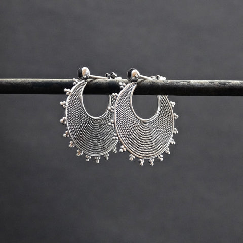 Sterling Silver Wirework and Dot Detail Hoop Earrings