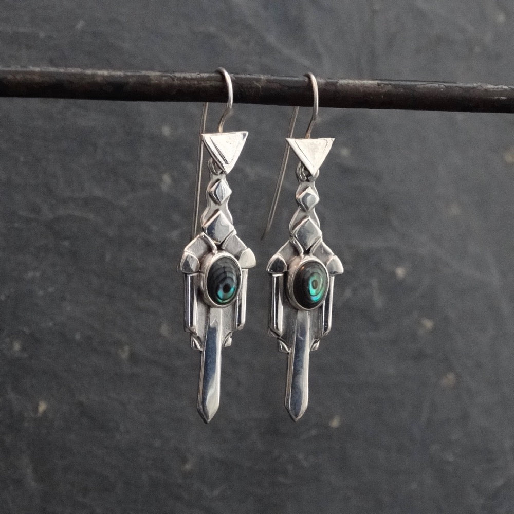 Sterling Silver and Abalone Art Deco Earrings - Beyond Biasa