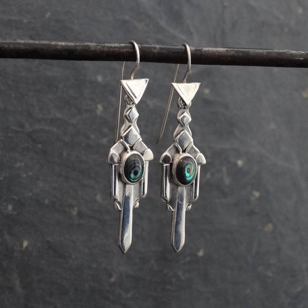 Sterling Silver and Abalone Art Deco Earrings