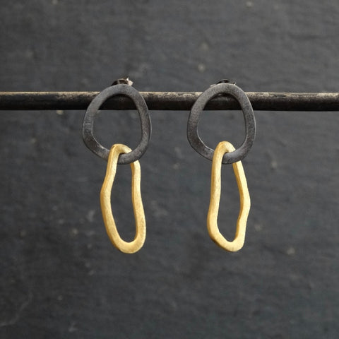 Black and Gold Organic Shapes Earrings - Beyond Biasa