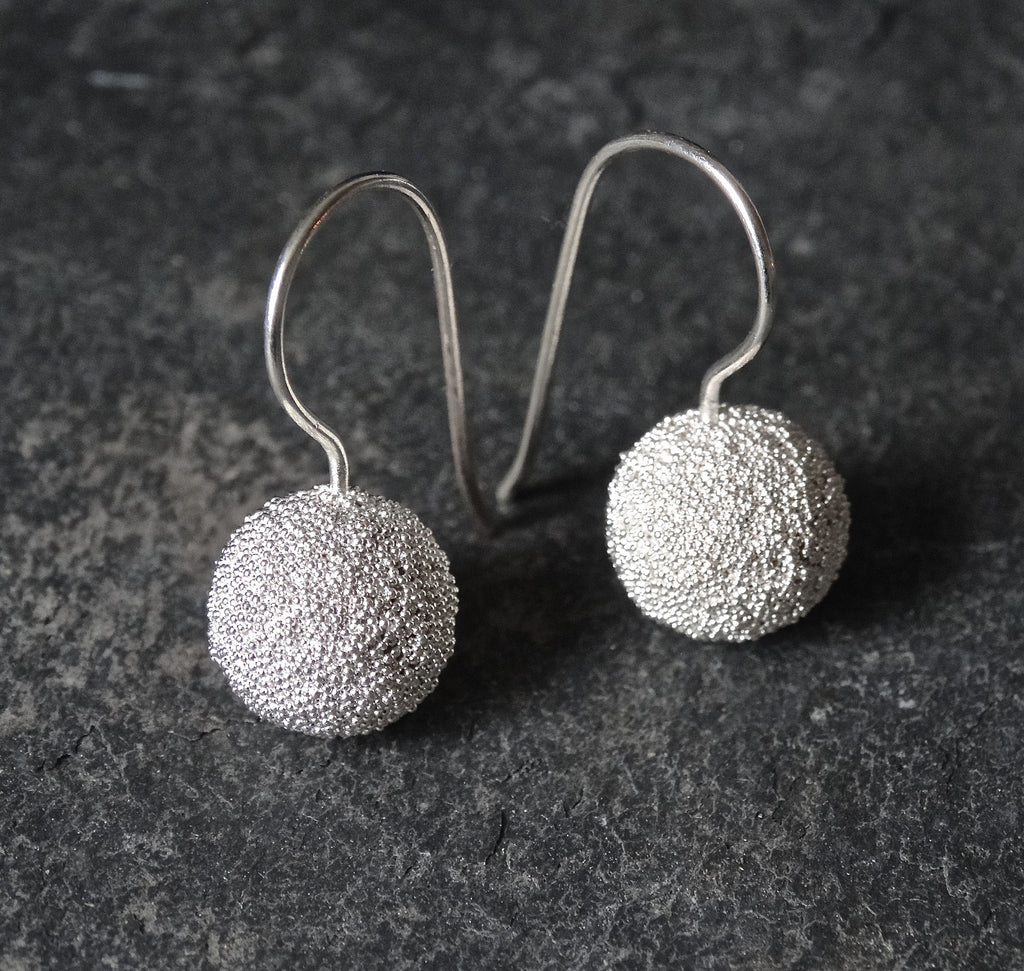 Sterling Silver Granulation Ball Earrings - Beyond Biasa