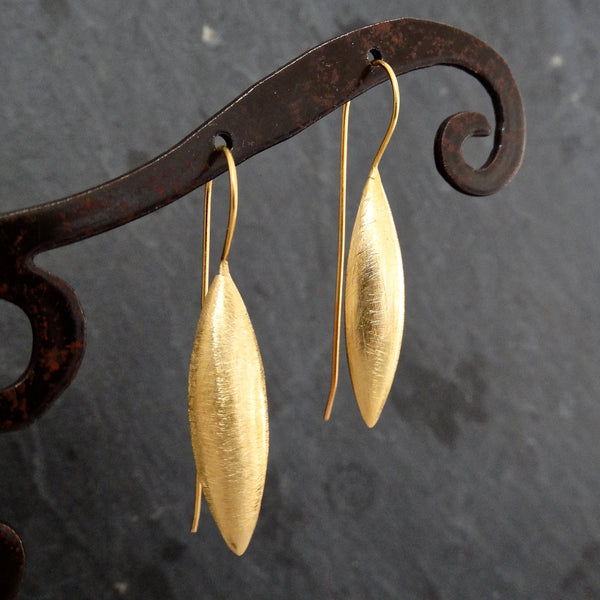 Brushed Gold Vermeil Spear Earrings - Beyond Biasa