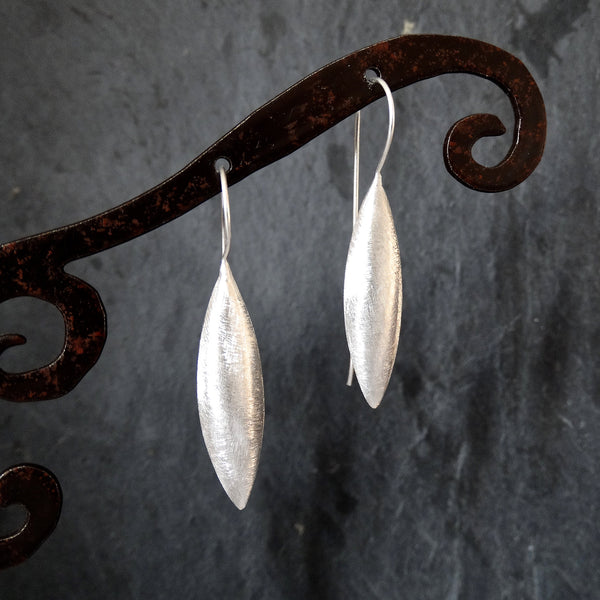 Brushed Sterling Silver Spear Earrings - Beyond Biasa
