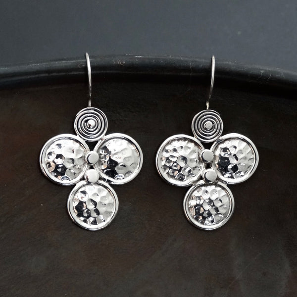 Sterling Silver Hammered Circle Earrings - Beyond Biasa