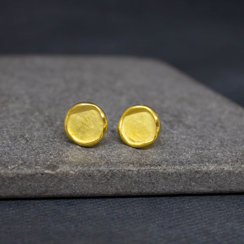 Brushed Gold Vermeil Disc Studs