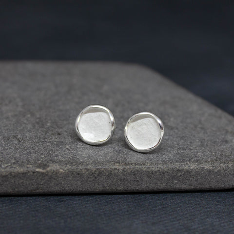 Brushed Silver Disc Studs