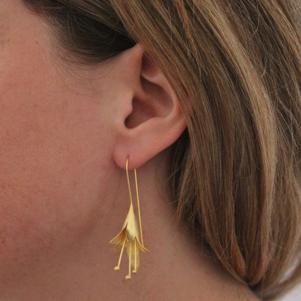 Flower Drop Earrings - Brushed Sterling Silver or Brushed Gold Vermeil