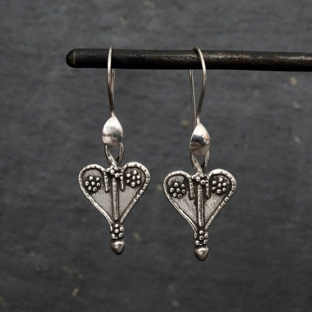 Oxidised Sterling Silver Heart Earrings - Beyond Biasa