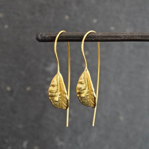 Textured Gold Vermeil Leaf Earrings - Beyond Biasa
