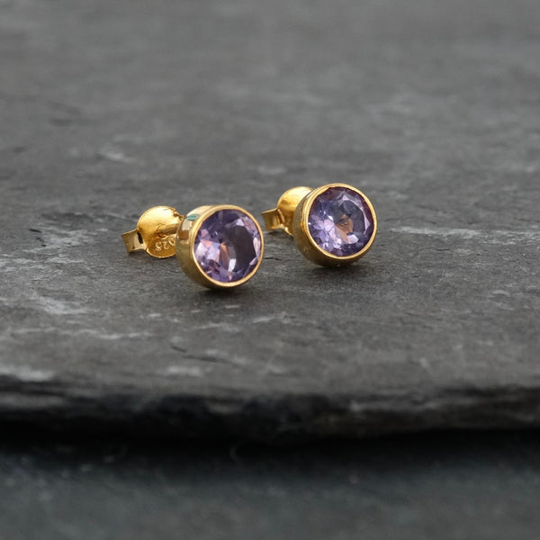 Amethyst and Gold Vermeil Round Stud Earrings - Beyond Biasa