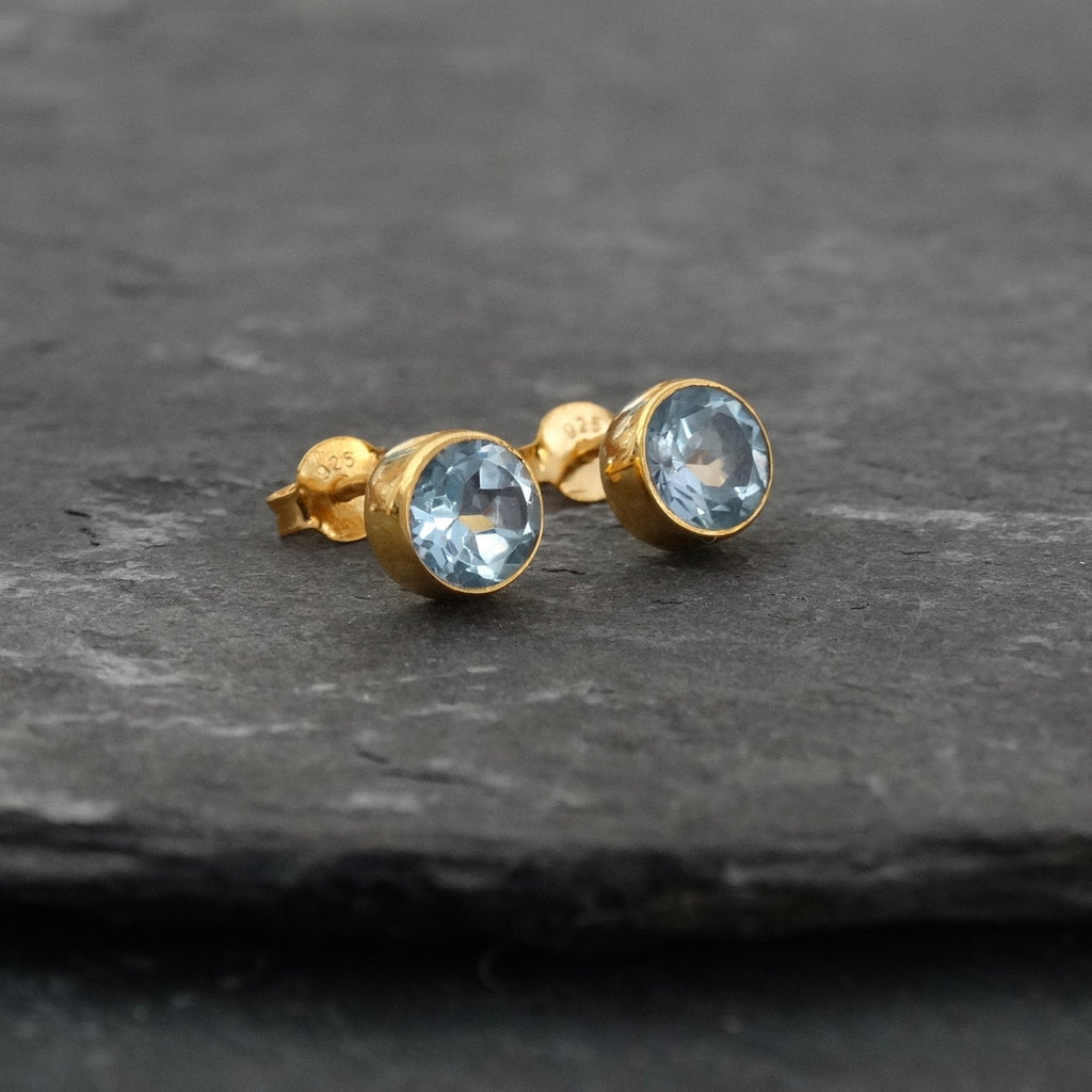 Blue Topaz and Gold Vermeil Round Stud Earrings - Beyond Biasa
