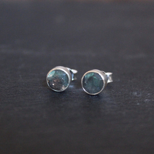 Labradorite and Sterling Silver Round Stud Earrings