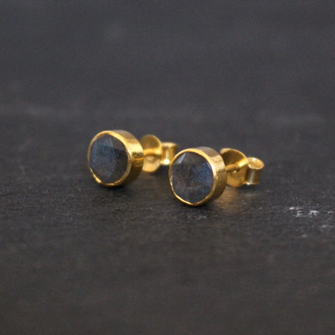 Labradorite and Gold Vermeil Round Stud Earrings