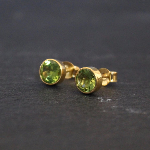 Peridot and Gold Vermeil Round Stud Earrings