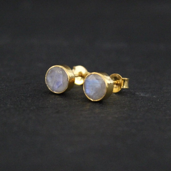 Rainbow Moonstone and Gold Vermeil Round Stud Earrings - Beyond Biasa