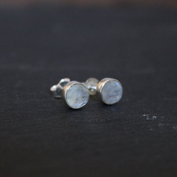 Rainbow Moonstone and Sterling Silver Round Stud Earrings