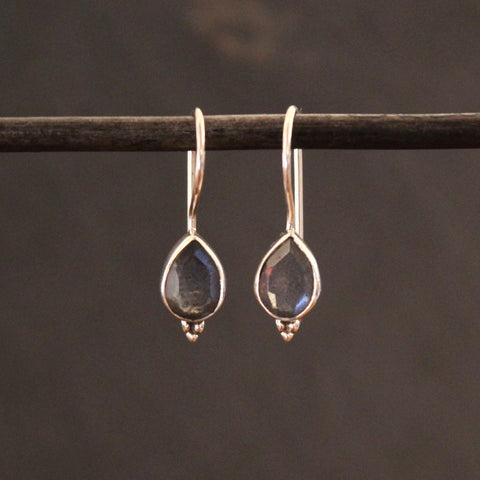 Labradorite and Sterling Silver Teardrop Earrings - Beyond Biasa