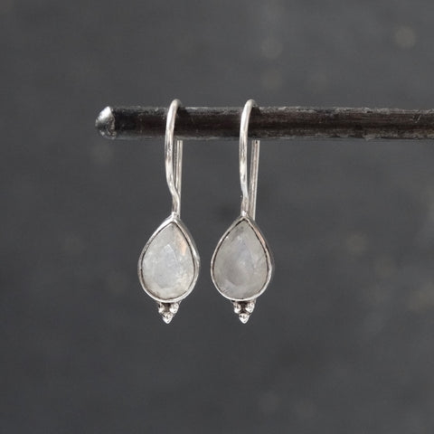 Rainbow Moonstone and Sterling Silver Teardrop Earrings - Beyond Biasa