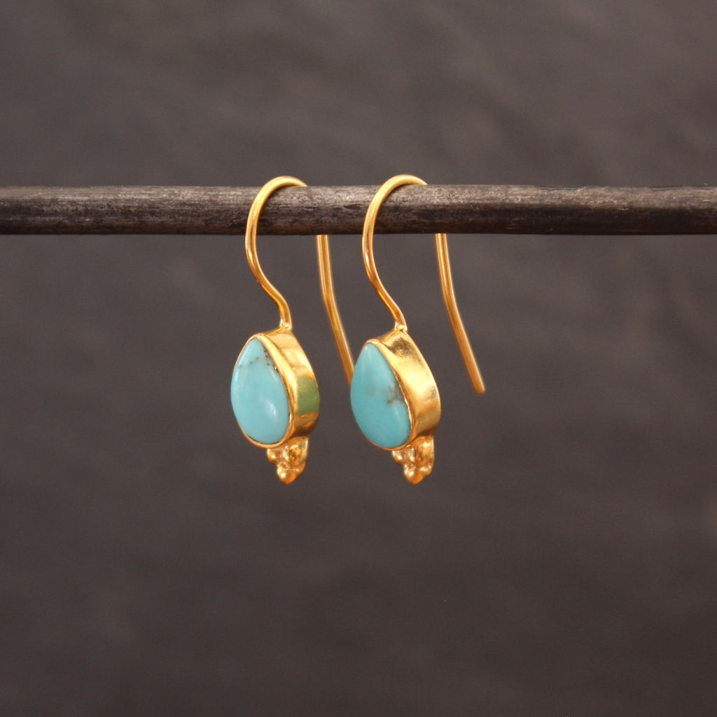 Turquoise and Gold Vermeil Teardrop Earrings