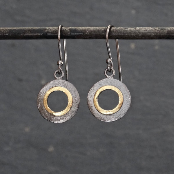 Black and Gold Brushed Circle Earrings