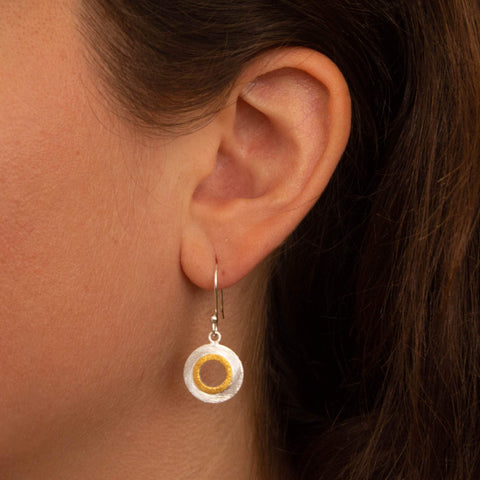 Silver and Gold Brushed Circle Earrings