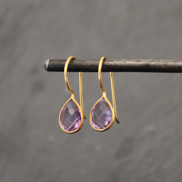 Amethyst and Gold Vermeil Teardrop Earrings - Beyond Biasa
