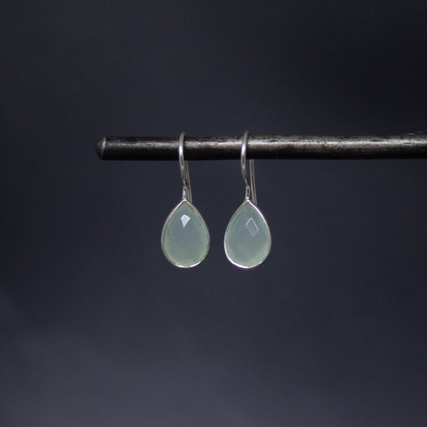 Aqua Chalcedony and Sterling Silver Teardrop Earrings